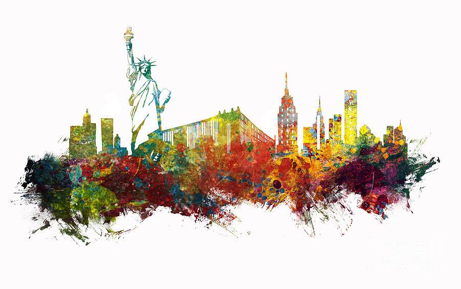 New York Digital Art - NYC New York City skyline by Justyna Jaszke JBJart