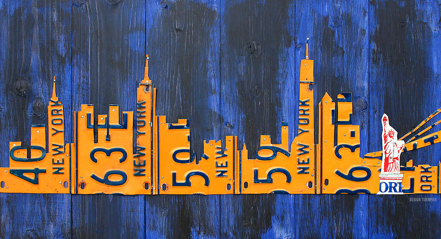 Nyc Mixed Media - Nyc New York City Skyline With Lady Liberty And Freedom Tower Recycled License Plate Art by Design Turnpike