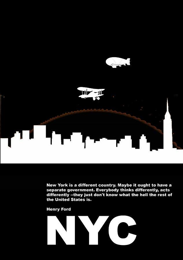 New York Photograph - Nyc Night Poster by Naxart Studio