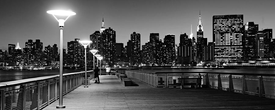 East river photograph nyc skyline from gantry state park at night black and white