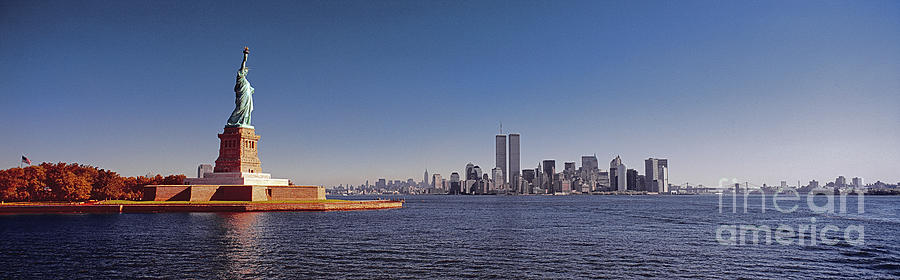 New York City Skyline Twin Towers Statue Of Liberty Photograph By Tom Jelen