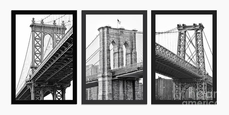 New York Bridges Photograph - Nyc Three Bridges-east River by Regina Geoghan