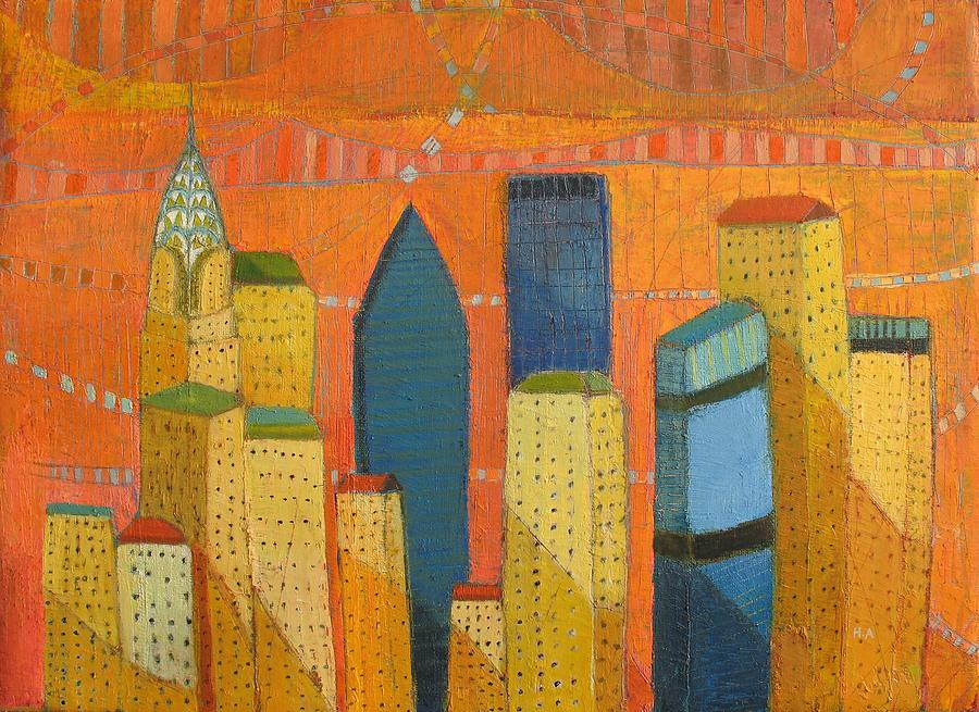 Abstract Cityscape Painting - Nyc With Chrysler by Habib Ayat