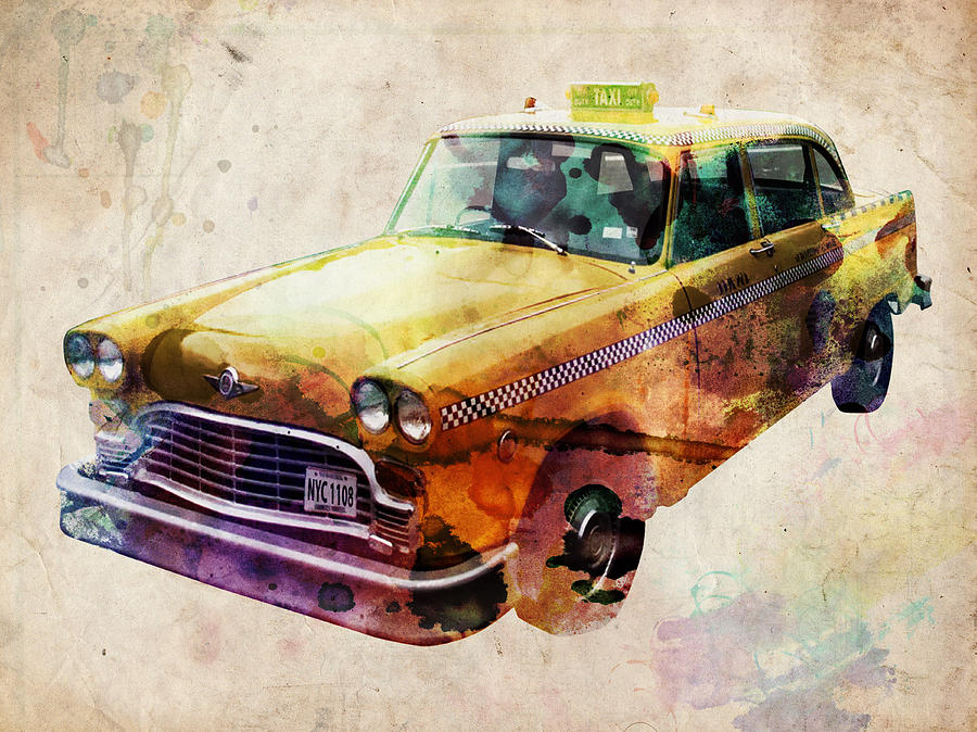 Nyc Digital Art - NYC Yellow Cab by Michael Tompsett