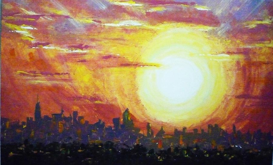 Sunset Painting - Nycity Sunset by Patti Bean