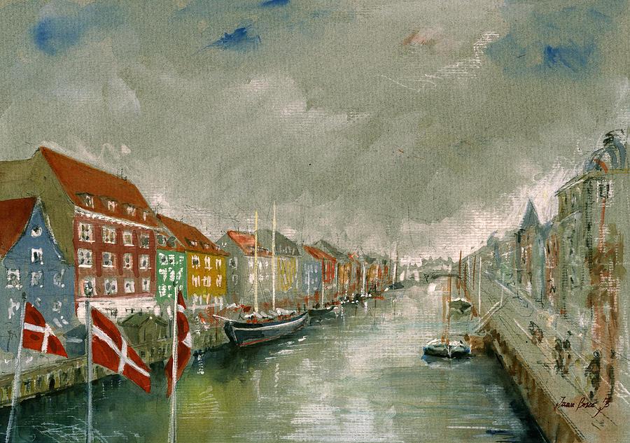 Copenhagen Painting - Nyhavn Copenhagen by Juan  Bosco
