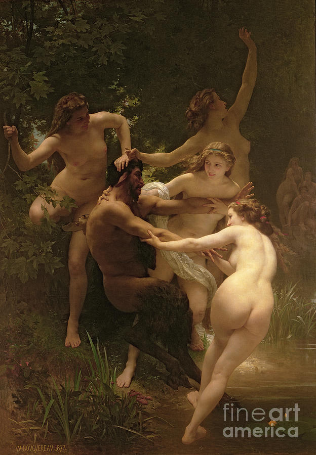 Nudes Painting - Nymphs And Satyr by William Adolphe Bouguereau