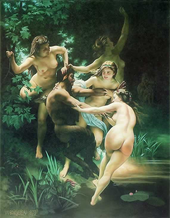 Green Painting - Nymphs et Saytr  by Bouguereau by Van Cordle