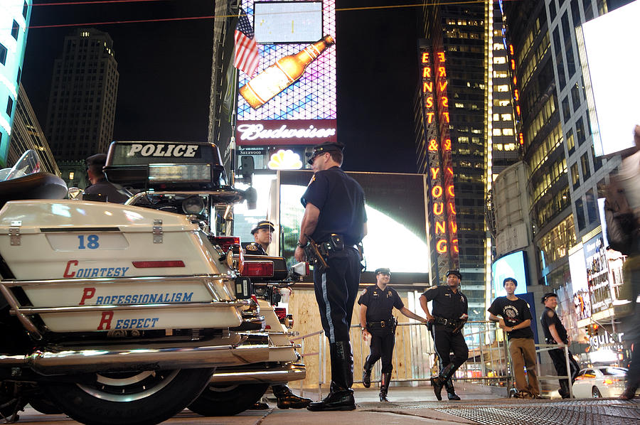 Times Square Photograph - Nypd Times Square by Robert Lacy