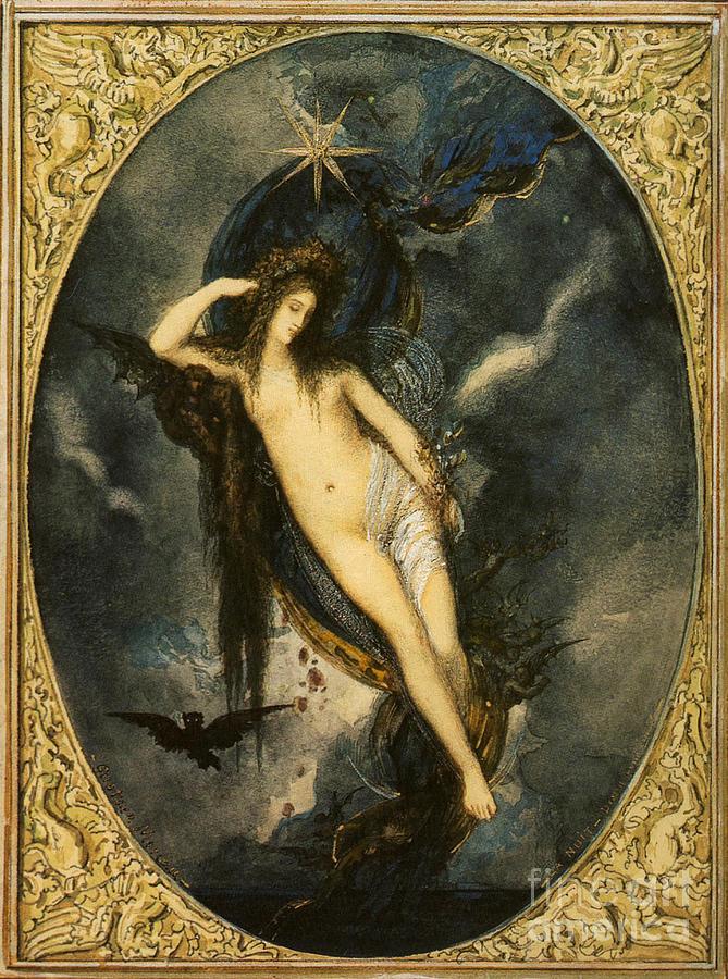 Goddess Painting - Nyx Night Goddess by Gustave Moreau