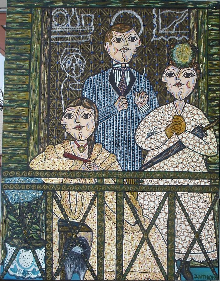 People Painting - O Balcao - Segundo Edouard Monet by Marcos  Anthony