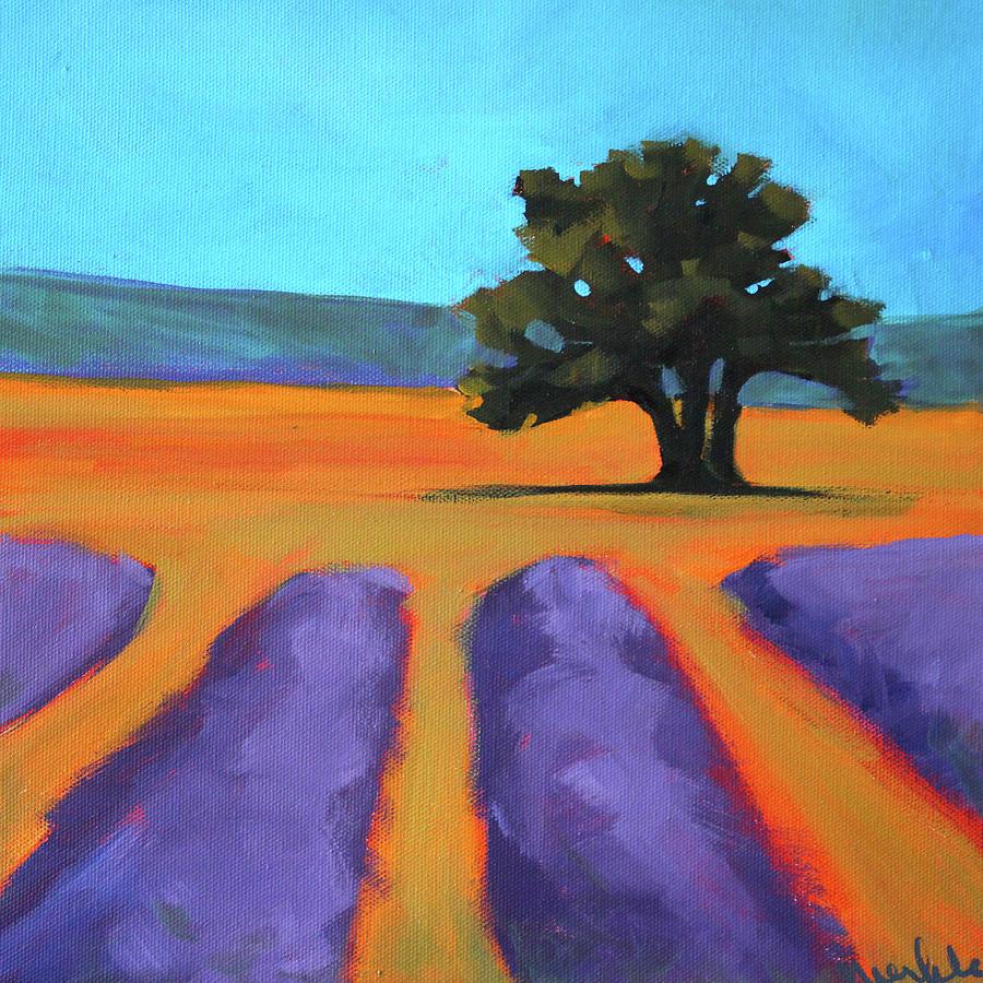 Lavender Painting - Oak And Lavender by Nancy Merkle