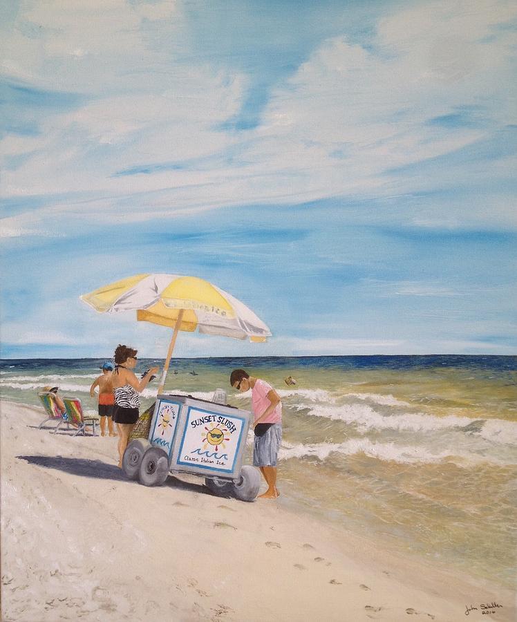 Island Beach Scenes: Oak Island Beach Scene Painting By John Schuller