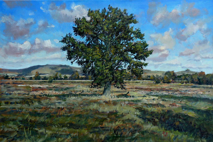 Oak Tree Painting - Oak Tree In The Vale Of Pewsey by Andrew Taylor