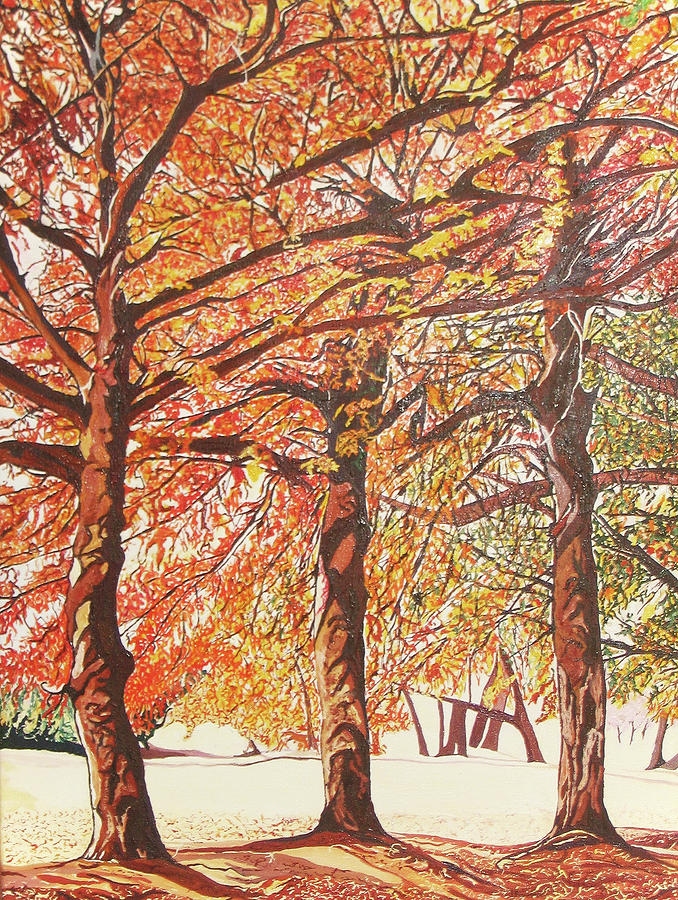 Oak Trees In The Park Painting by Valentine Magutsa