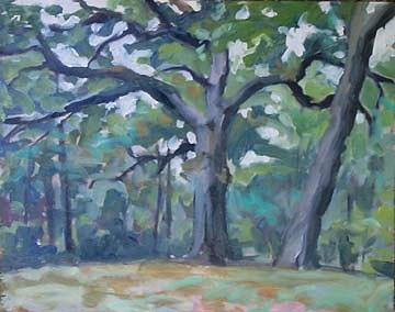 Oaks In Rain Painting by Margie Guyot