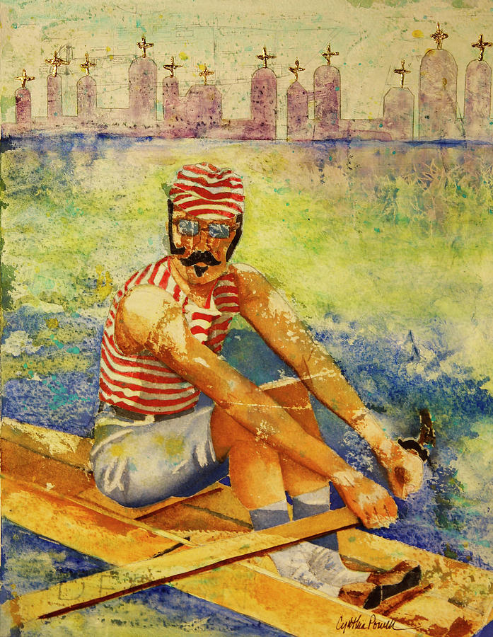 Watercolor Painting - Oarsman by Cynthia Powell