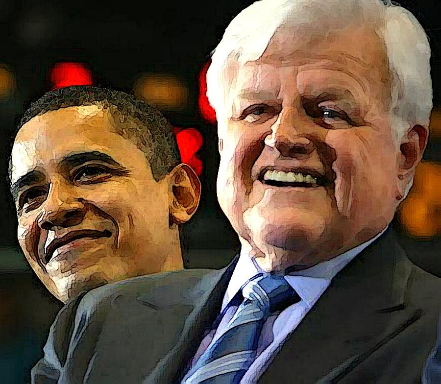 Kennedy Photograph - Obama And Kennedy by Gabe Art Inc