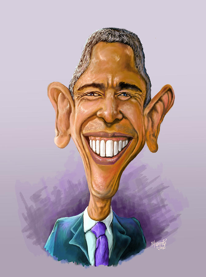 Kenyan Painting - Obama Caricature by Anthony Mwangi
