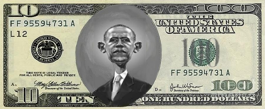 Money Digital Art - Obama Dollar by Charles Robinson