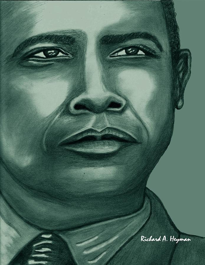 Political Drawing - Obama in Bronze by Richard Heyman