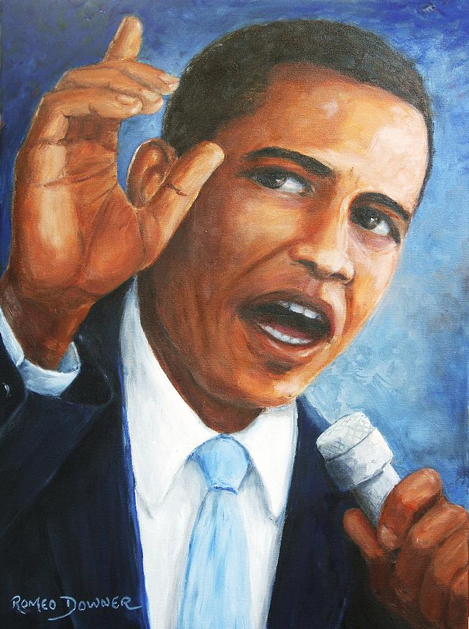Barack Painting - Obama by Romeo Downer