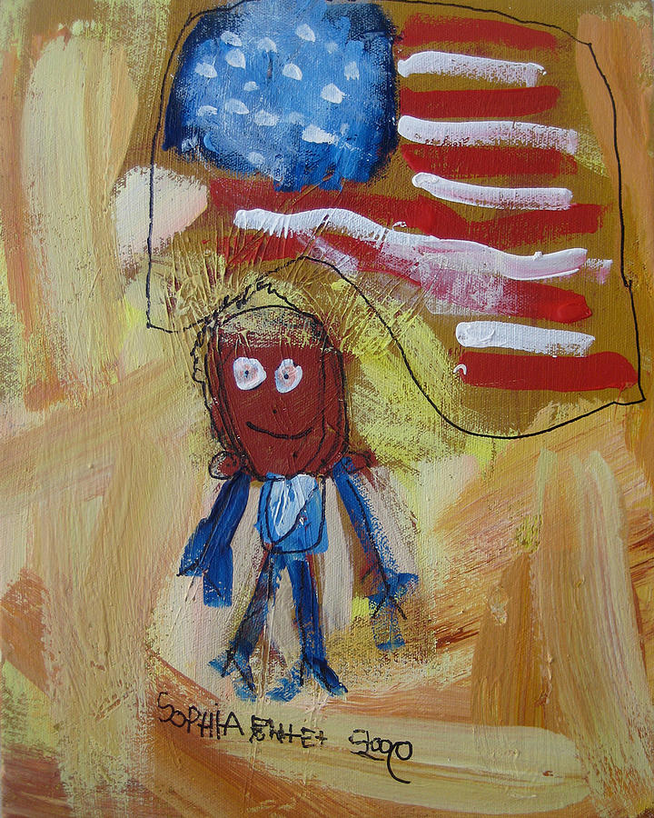 Naif Painting - Obama by Sophia Pontet