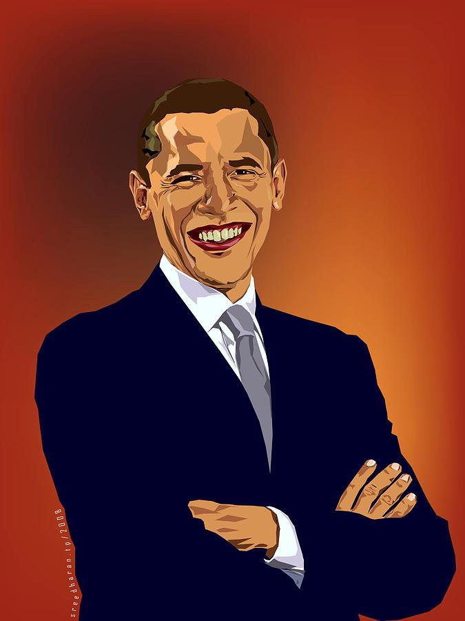 Obama Digital Art - Obama by Sreedharan Tp