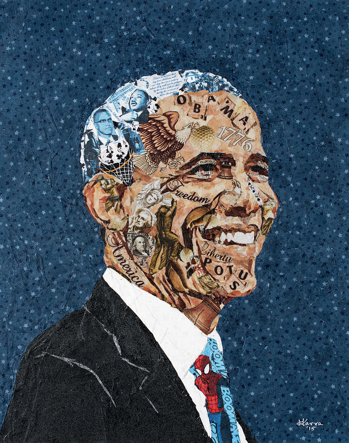 Portrait Painting - Obama, The President And The Man by Mihira Karra