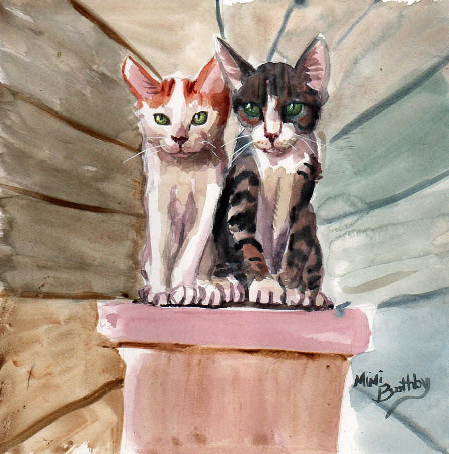 Obi and Lisa two kittens by Mimi Boothby
