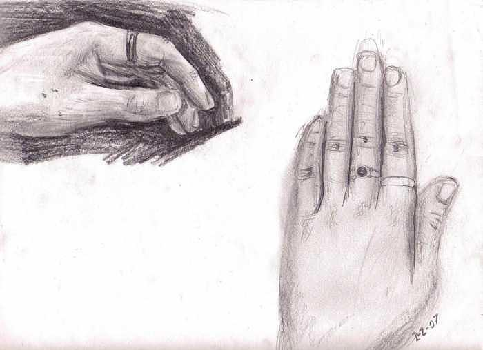 Hands Drawing - Observation- My Left Hand by Katie Alfonsi