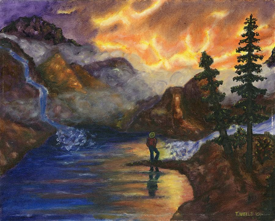 Mountains Painting - Observation Of Beauty by Tanna Lee M Wells