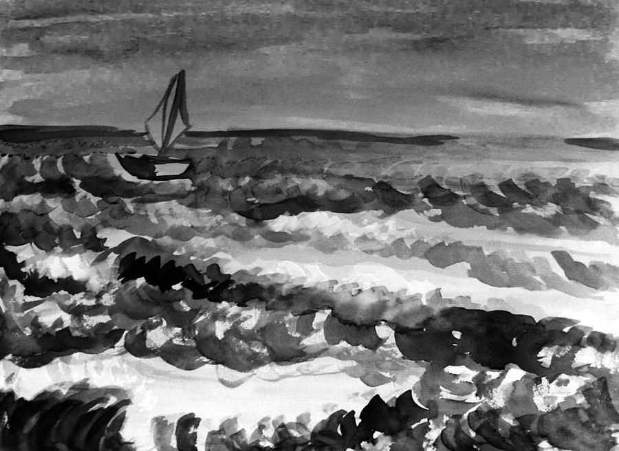 Ocean Painting - Ocean Back And White by Hae Kim