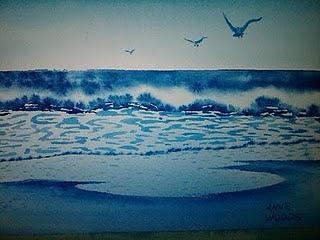 Ocean Painting - Ocean Beach by Anne Woods