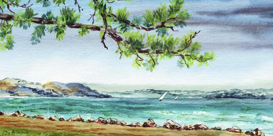 Ocean Beach Watercolour Landscape Painting by Irina Sztukowski