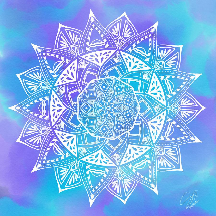 Mandala Digital Art - Ocean Breeze Mandala by Lisa Schwaberow