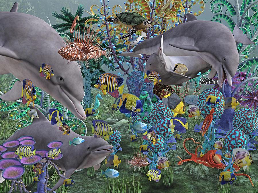 Dolphin Digital Art - Ocean Circus by Betsy Knapp