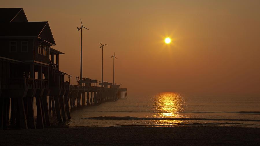 Sunrise Photograph - Ocean Dawn Wind Turbines by Daniel Lowe