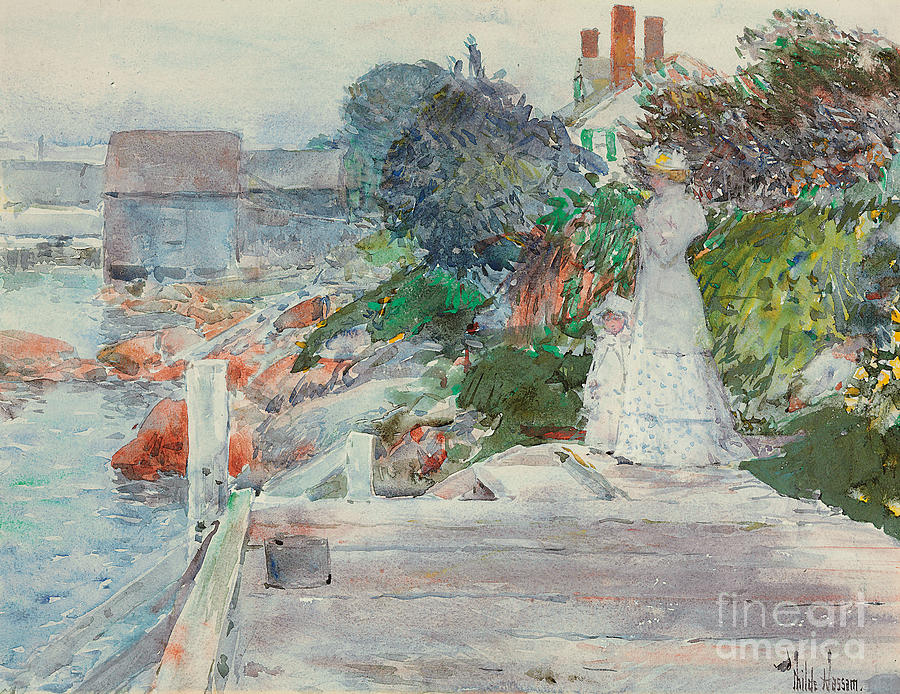 Ocean Front Painting - Ocean Front, Gloucester, Massachusetts by Childe Hassam