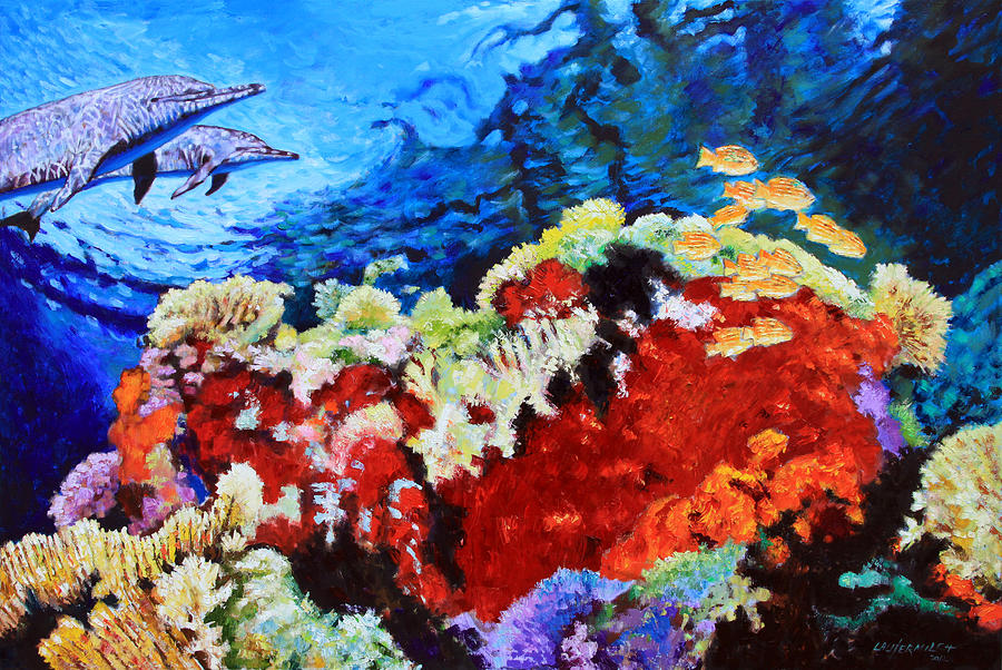 Dolphins Painting - Ocean Garden by John Lautermilch