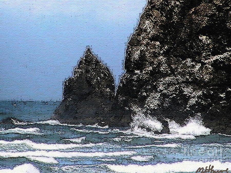 Ocean Haystack Rocks Painting - Ocean Haystack Rock by Methune Hively