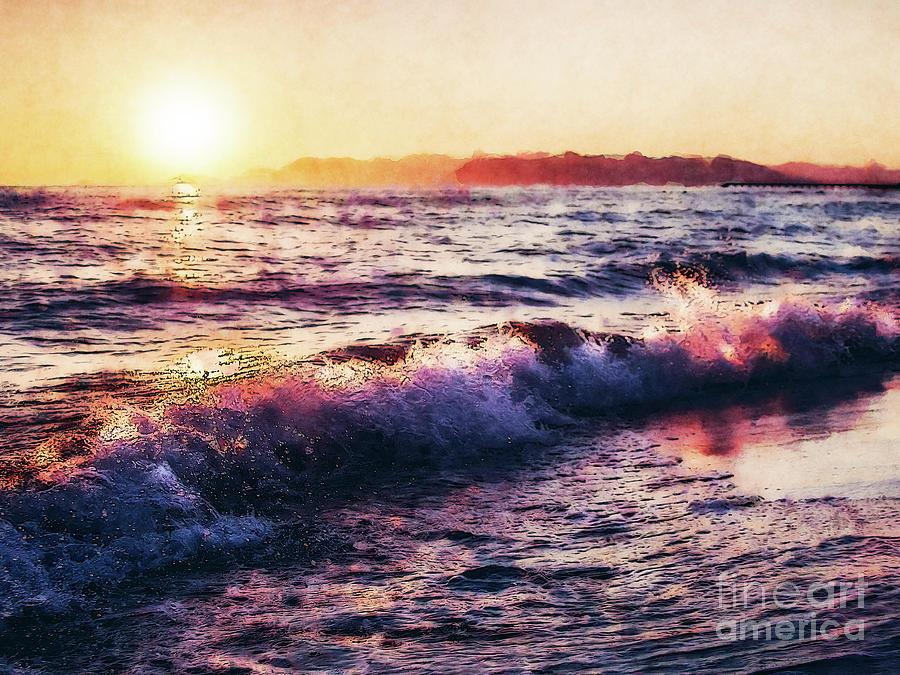 Ocean Digital Art - Ocean Landscape Sunrise by Phil Perkins