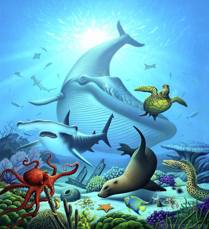 ocean life digital art by jerry lofaro
