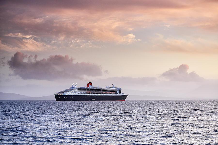 Ocean Liner Photograph - Ocean Liner Sunset by Grant Glendinning