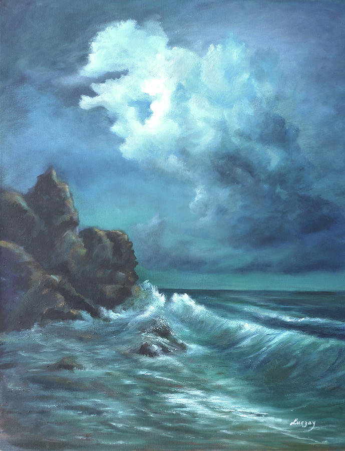 Ocean Painting - Seascape And Moonlight An Ocean Scene by Katalin Luczay