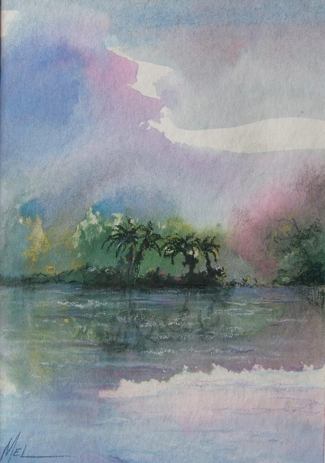 Tropical Island Painting - Ocean Pearls by Melody Horton Karandjeff