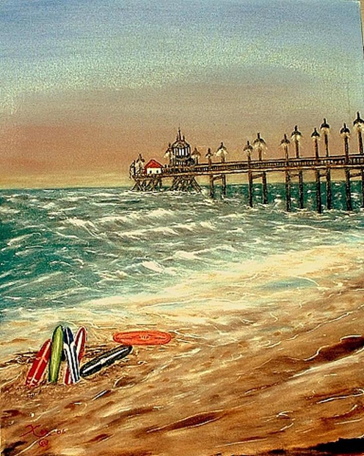 Ocean Pier Painting by Kenneth LePoidevin