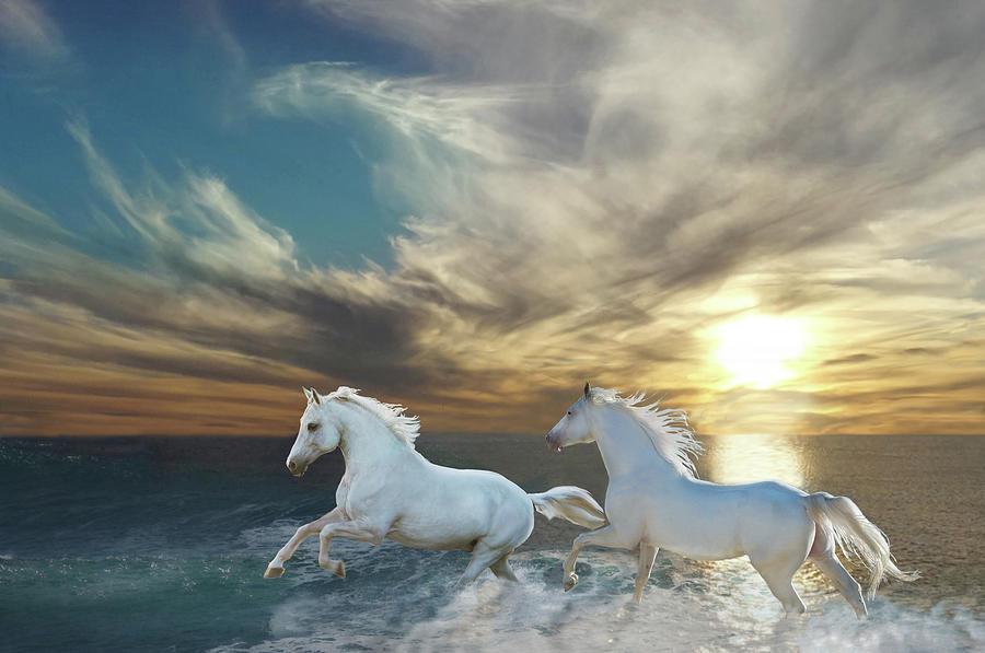 White Horses Digital Art - Ocean Play by Melinda Hughes-Berland