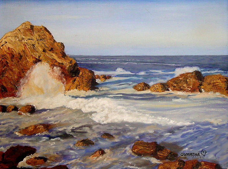 Seascape Painting - Ocean Rock by Quwatha Valentine