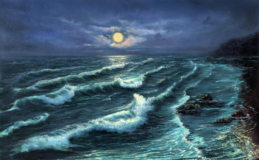 Ocean Shore At Night Painting